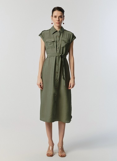 Monamoda Düğmeli Çift Cep Gömlek Elbise Haki